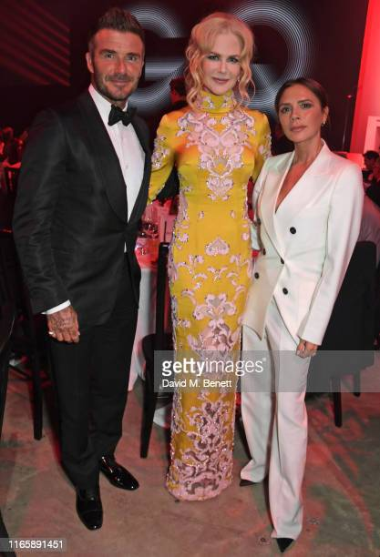 David Beckham Nicole Kidman and Victoria Beckham attend the the GQ Men Of The Year Awards 2019 in association with HUGO BOSS at the Tate Modern on...