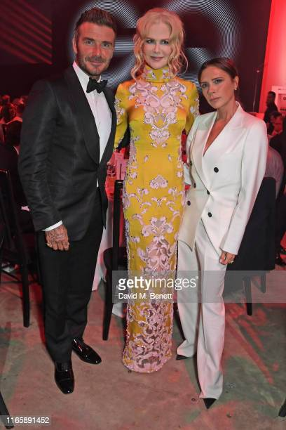 David Beckham, Nicole Kidman and Victoria Beckham attend the the GQ Men Of The Year Awards 2019 in association with HUGO BOSS at the Tate Modern on...