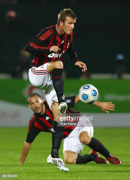David Beckham of AC Milan in action during the Dubai Football Challenge match between AC Milan and Hamburger SV at The Emirates Sevens Stadium on...