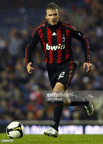 David Beckham of AC Milan in action during the friendly match between Rangers and AC Milan at Ibrox Stadium on February 4, 2009 in Glasgow, Scotland.