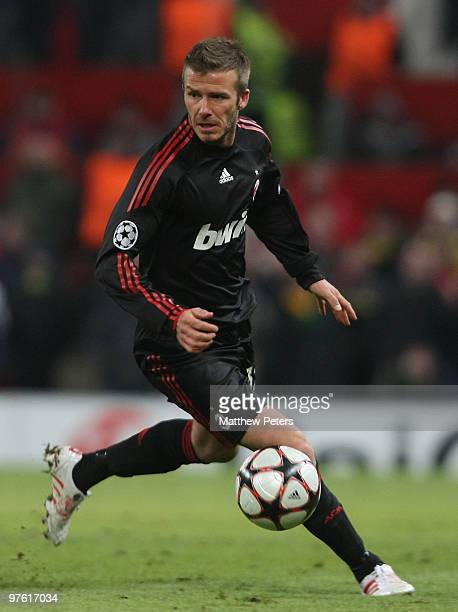 David Beckham of AC Milan in action during the UEFA Champions League First Knockout Round Second Leg match between Manchester United and AC Milan at...