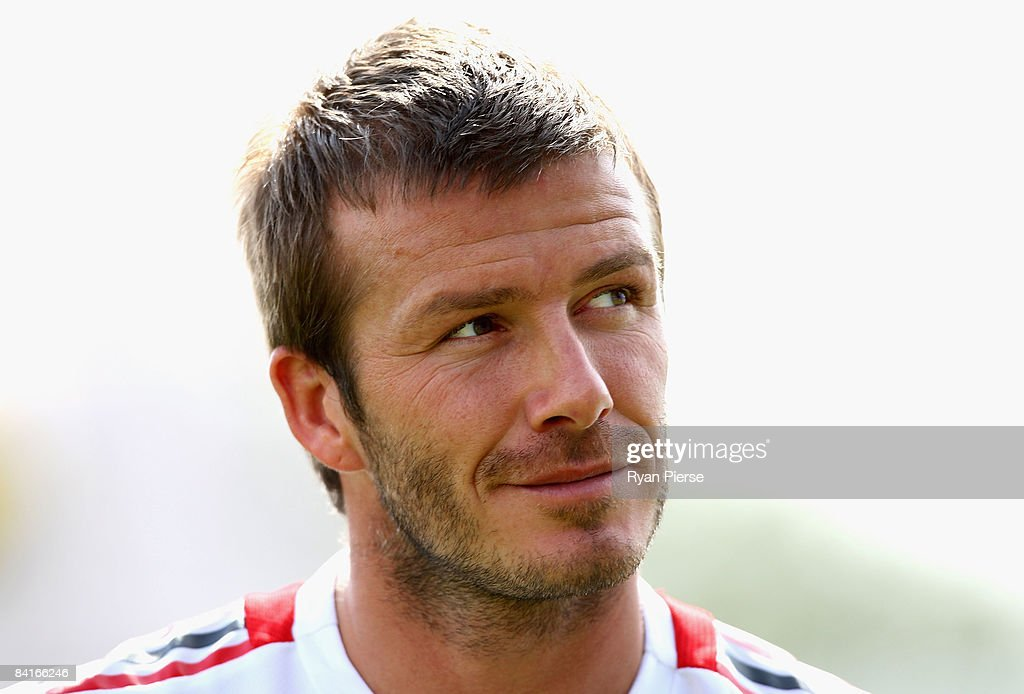 David Beckham of AC Milan looks on during a training session during the AC Milan Winter Training Camp at the Al Nasr Sports Club on January 4, 2009 in Dubai, United Arab Emirates.
