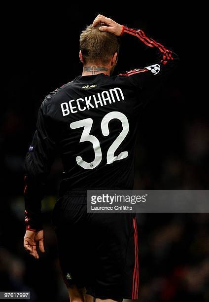 David Beckham of AC Milan shows his dissapointment after the UEFA Champions League First Knockout Round second leg match between Manchester United...