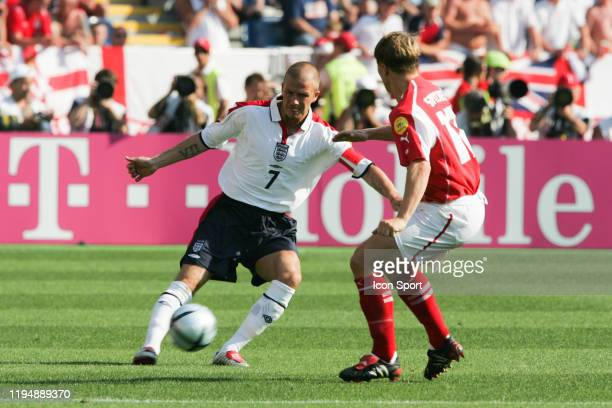 David BECKHAM of England and Christoph SPYCHER of Switzerland during the European Championship match between England and Switzerland at Estadio...