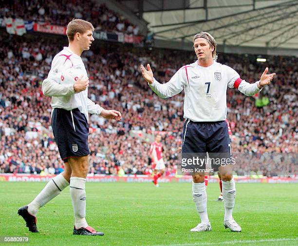 David Beckham of England appeals as he is sent off during the World Cup 2006 Group 6 qualifying match between England and Austria at Old Trafford on...