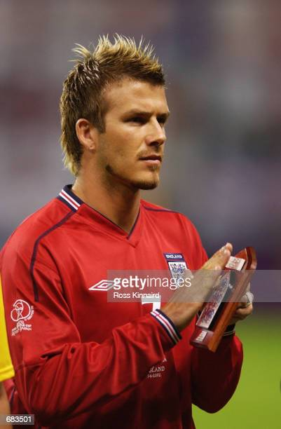 David Beckham of England before the Group F match against Argentina of the World Cup Group Stage match played at the Sapporo Dome Sapporo Japan on...