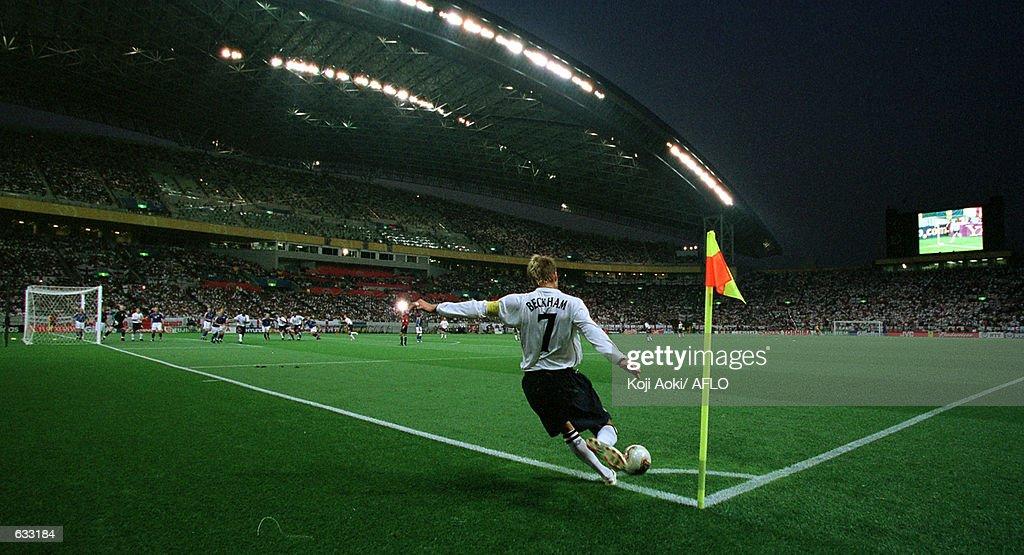 David Beckham celebrates : Nachrichtenfoto