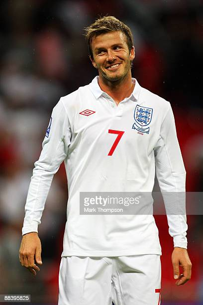 David Beckham of England celebrates after victory in the FIFA 2010 World Cup Group 6 Qualifying match between England and Andorra at Wembley Stadium...