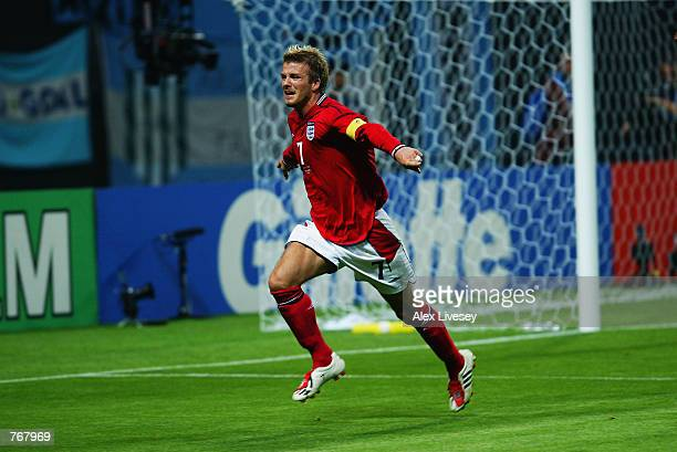 David Beckham of England celebrates during the Group F match against Argentina of the World Cup Group Stage played at the Sapporo Dome in Sapporo...