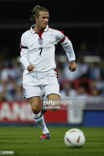David Beckham of England charges forward during the International Friendly match between England and Croatia held on August 20 2003 at Portman Road...