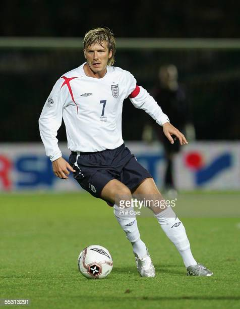 David Beckham of England during a World Cup Qualifier Group six match in Northern Ireland at Windsor Park on September 7 2005 in Belfast Northern...