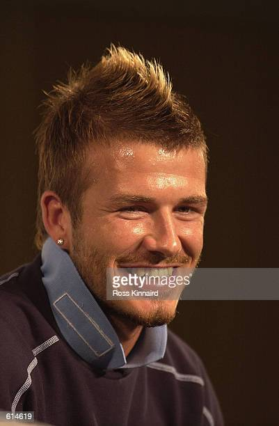 David Beckham of England during his press conference at the FA's media centre in Awaji Shima island Tsuna Town Japan on May 30 2002 England are...