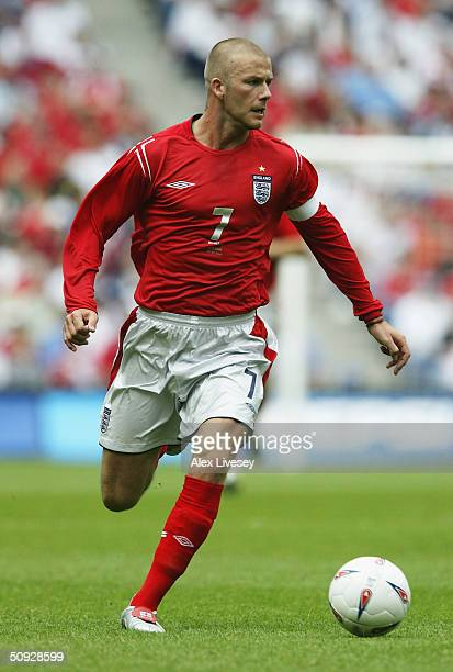 David Beckham of England during the FA Summer Tournament match between England and Iceland at the City of Manchester Stadium on June 5 2004 in...