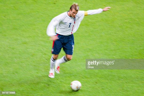 David Beckham of England during the world cup match between Denmark and England at Denka Big Swan Stadium in Niigata, Japan on june 15th, 2002.