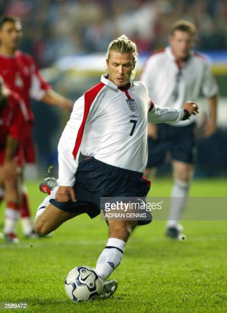 David Beckham of England goes to kick a penalty during the group 7 European 2004 qualifying match against Turkey at Sukru Saracoglu stadium in...