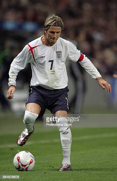 David Beckham of England in action as he captains the national team for the 50th time during the International friendly match between England and...