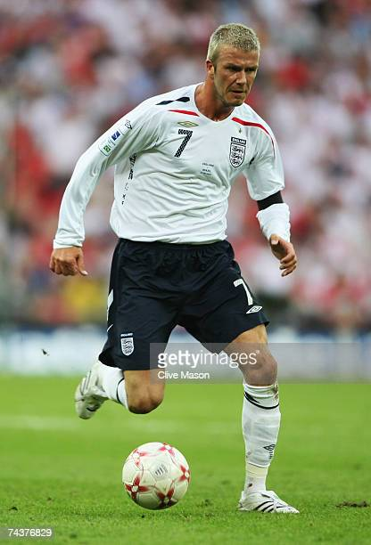 David Beckham of England in action during the International Friendly match between England and Brazil at Wembley Stadium on June 1 2007 in London...