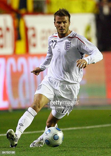 David Beckham of England in action during the International Friendly between Spain and England at the Ramon Sanchez Pizjuan Stadium on February 11...