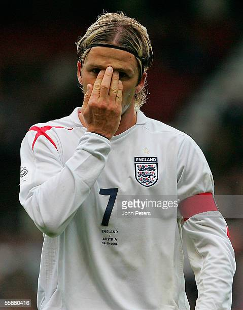 David Beckham of England in action during the World Cup qualifying match between England and Austria at Old Trafford on October 8 2005 in Manchester,...