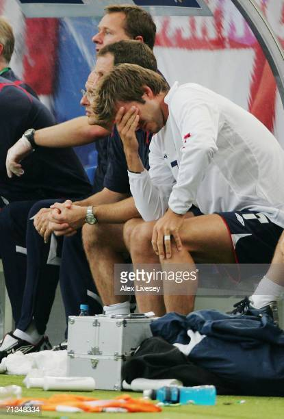 David Beckham of England is distraught after being substituted during the FIFA World Cup Germany 2006 Quarterfinal match between England and Portugal...