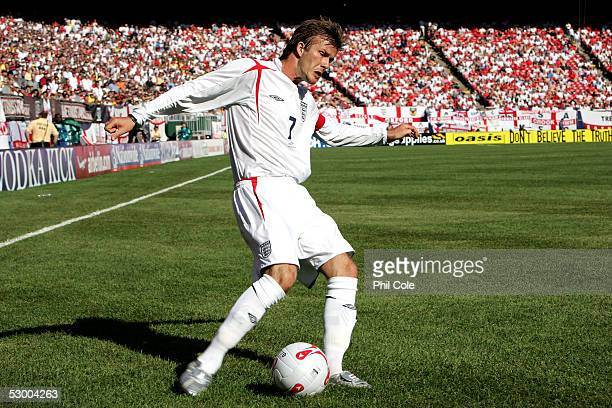 David Beckham of England kicks the ball during the second half against Colombia at Giants Stadium on May 31 2005 in East Rutherford New Jersey