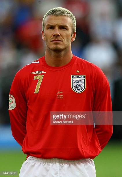 David Beckham of England lines up for the anthems before the Euro2008 Qualifying match between Estonia and England at A Le Coq Arena on June 6 2007...