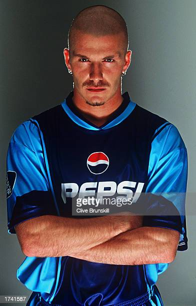 David Beckham of England poses for Pepsi's 'Share The Dream' 2002 advertising campaign in Manchester England on October 15 2001