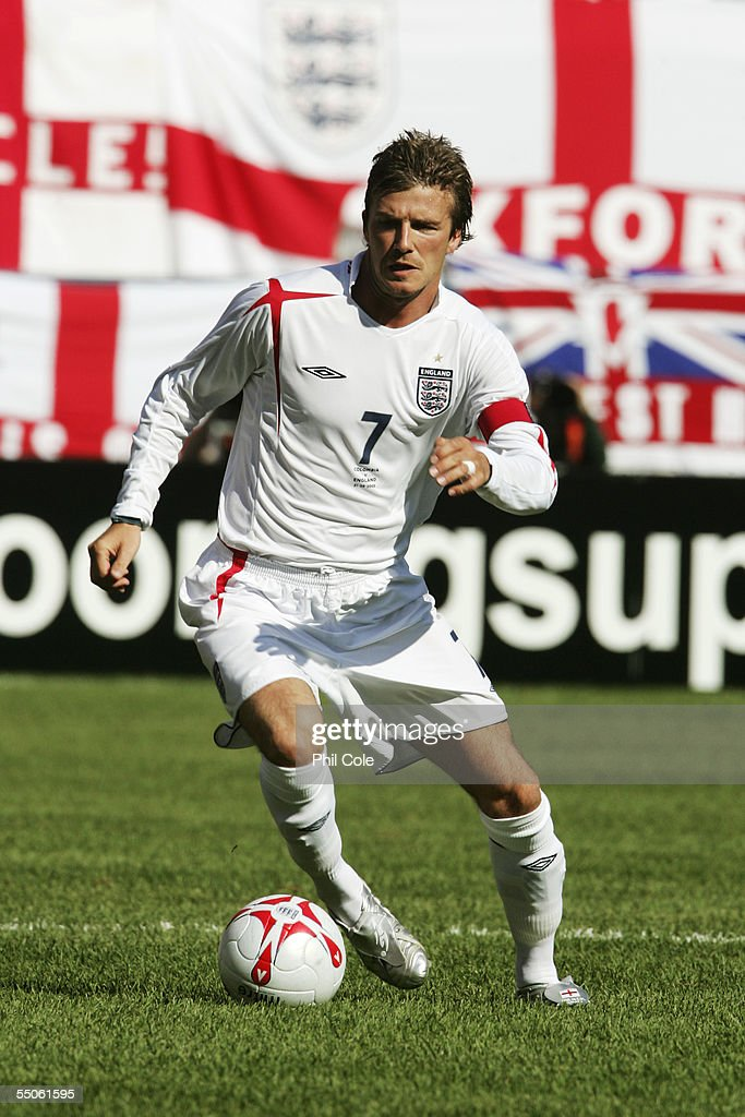 David Beckham #7 of England runs with the ball during the second half against Colombia at Giants Stadium on May 31, 2005 in East Rutherford, New Jersey. England won the game 3-2.