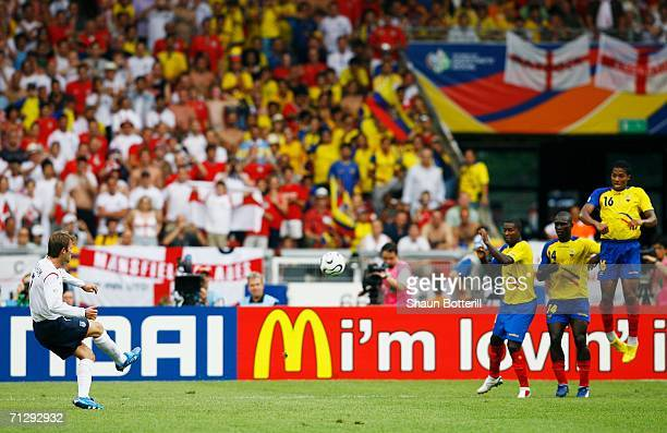 David Beckham of England scores the opening goal from a free kick during the FIFA World Cup Germany 2006 Round of 16 match between England and...