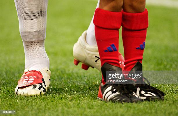 David Beckham of England shows his new boots before during the England v Sweden Group F World Cup Group Stage match played at the Saitama Stadium...