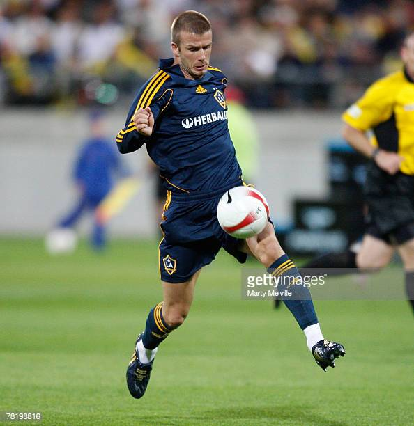David Beckham of LA Galaxy in action during the friendly match between Wellington Phoenix FC and the LA Galaxy held at the Westpac Stadium December 1...