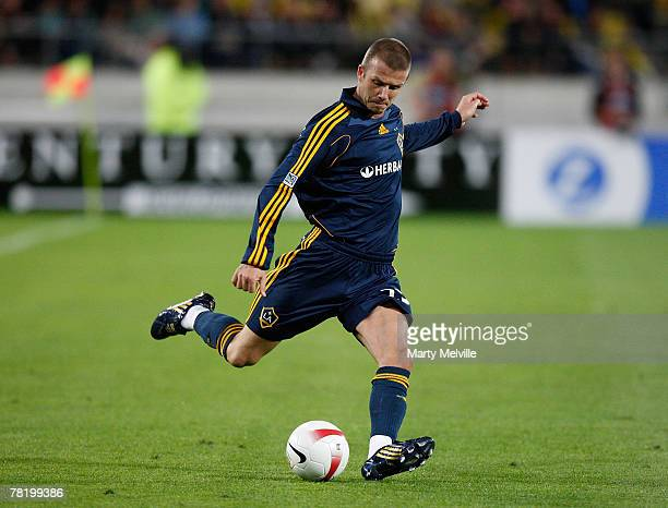 David Beckham of LA Galaxy in action during the friendly match between Wellingto Phoenix FC and the LA Galaxy held at the Westpac Stadium December 1...