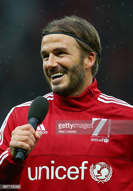 David Beckham of Great Britain and Ireland addresses the fans during the David Beckham Match for Children in aid of UNICEF between Great Britain &...