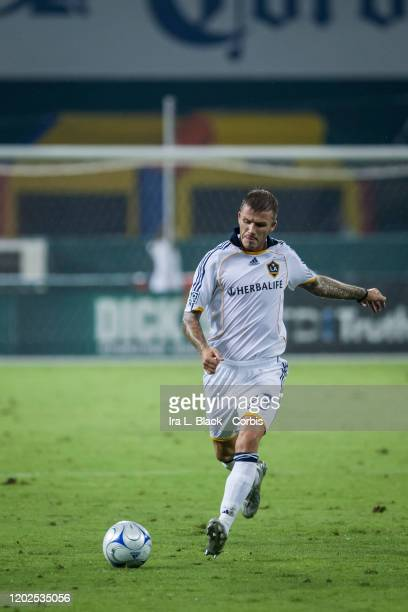 David Beckham of Los Angeles Galaxy lines up to kick the ball during the Major League Soccer match between LA Galaxy and DC United. The match took...