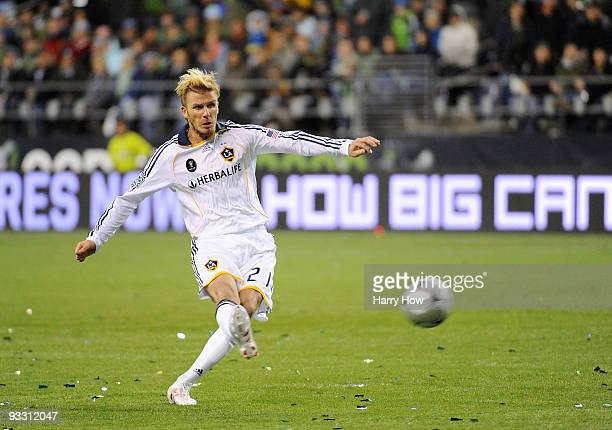 David Beckham of Los Angeles Galaxy takes a free kick during the MLS Cup final against Real Salt Lake at Qwest Field on November 22 2009 in Seattle...
