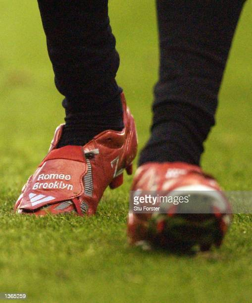 David Beckham of Man Utd with his new boots showing his two son's names Brooklyn and Romeo before the Manchester United v Middlesbrough FA...