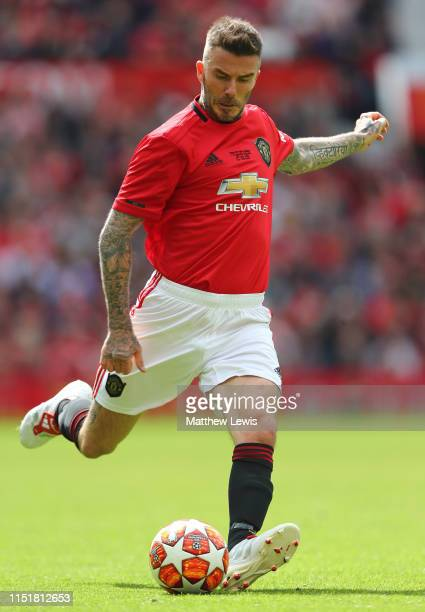 David Beckham of Manchester United '99 Legends in action during the Manchester United '99 Legends and FC Bayern Legends match at Old Trafford on May...