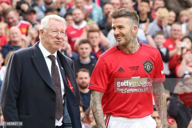 David Beckham of Manchester United '99 Legends walks out with Manchester United '99 Legends Manager Sir Alex Ferguson prior to the 20 Years Treble...