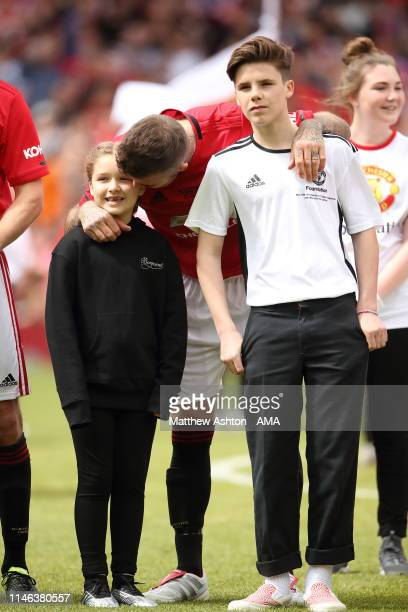 David Beckham of Manchester United '99 Legends with his daughter Harper and son Cruz before the Manchester United '99 Legends v FC Bayern Legends...