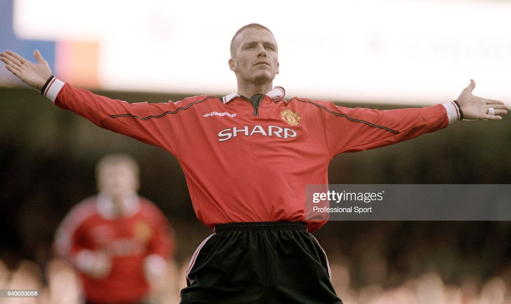 David Beckham Of Manchester United Celebrates After Scoring