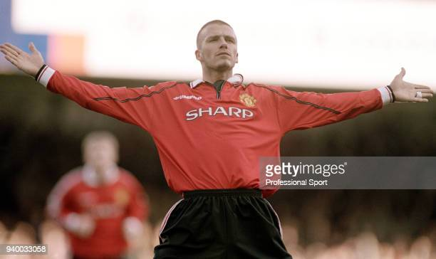David Beckham of Manchester United celebrates after scoring during the FA Carling Premiership match between Leicester City and Manchester United at...