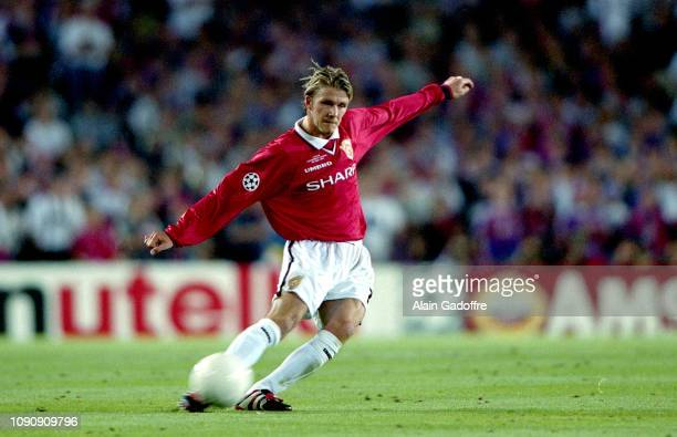 David Beckham of Manchester United during the UEFA Champions league final match between Manchester United and Bayern Munich on May 26 1999 in Camp...
