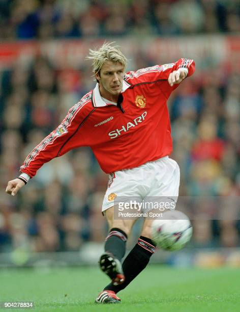 David Beckham of Manchester United in action circa 2000
