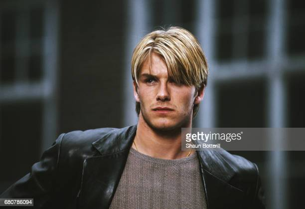 David Beckham of Manchester United on a commercial shoot in Manchester on May 2 1998 in Manchester England