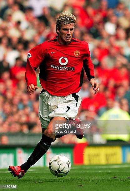 David Beckham of Manchester United on the ball during the FA Barclaycard Premiership match between Manchester United and Tottenham Hotspur at Old...