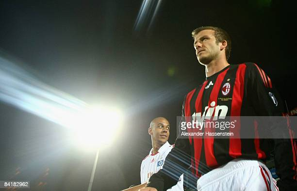 David Beckham of Milan enters the field for the Dubai Football Challenge match between AC Milan and Hamburger SV at the Emirates Sevens Stadium on...