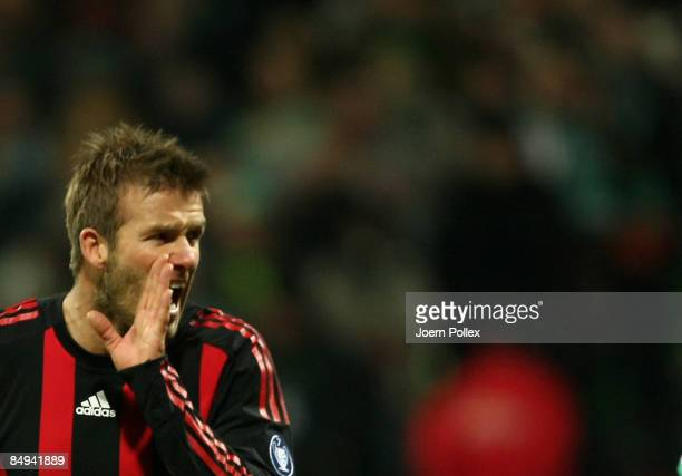David Beckham of Milan shouting during the UEFA Cup Round of 32 first leg match between Werder Bremen and AC Milan at the Weser stadium on February...