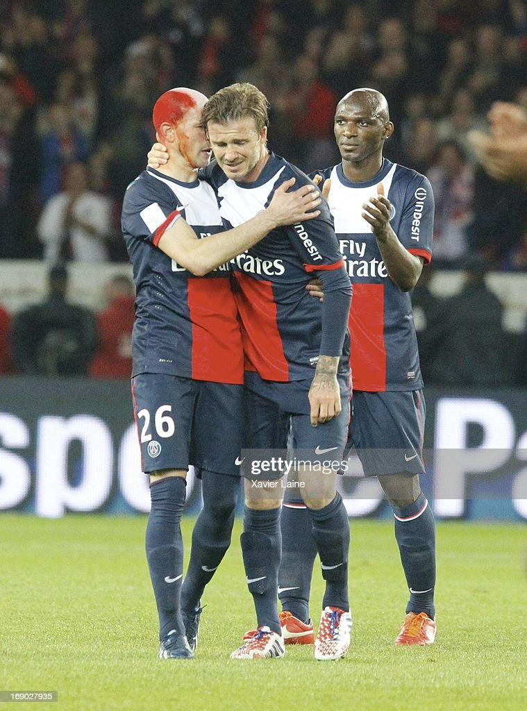 250f692ec David Beckham of Paris Saint-Germain crying after his last game with ...