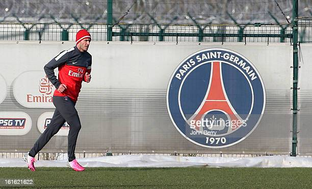 David Beckham of Paris SaintGermain FC attends his first practice session with his new team at the PSG training camp the Camp des Loges on February...