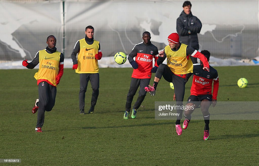 David Beckham of Paris Saint-Germain FC in action as he attends his first training session on February 13, 2013 in Paris, France.